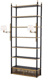 Casa Padrino luxury shelf cabinet with 2 swiveling lights vintage brass / black 105 x 44 x H. 250 cm - Bookcase - Living room cabinet - Office cabinet - Luxury Furniture
