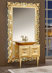 Casa Padrino luxury baroque bathroom set gold - Washstand with Sink and Wall Mirror - Ornate Bathroom Furniture in Baroque Style