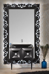 Casa Padrino luxury baroque bathroom set black - Washstand with Sink and Wall Mirror - Ornate Bathroom Furniture in Baroque Style
