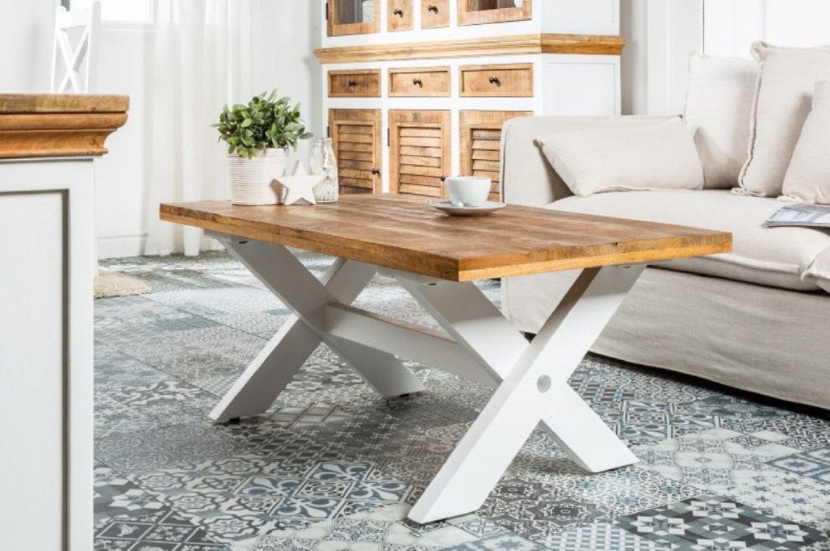 - Casa Padrino Country Style Coffee Table Natural / White 110 X 60 X