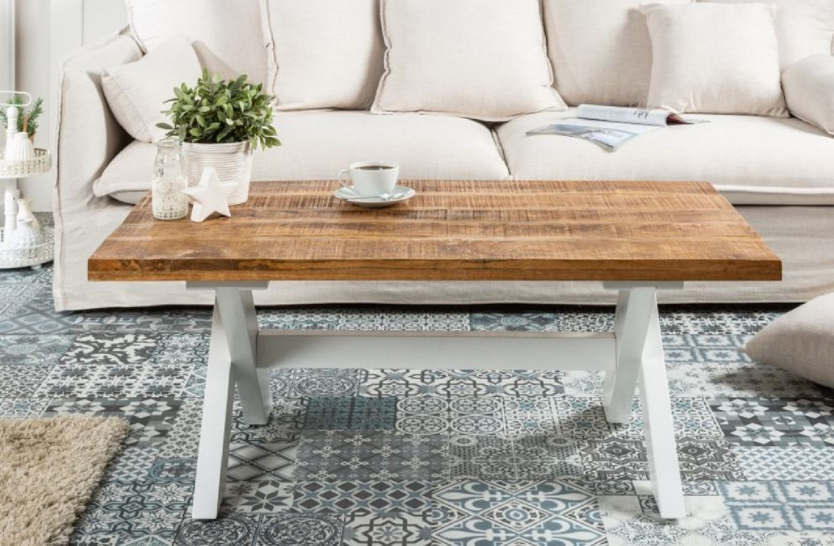 casa padrino country style coffee table natural white 110 x 60 x h 45 cm handmade solid wood living room table living room furniture in country