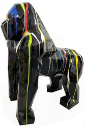 Casa Padrino designer decoration sculpture gorilla monkey black / multicolor 118 x 78 x H. 128 cm - Decoration animal figure - Huge Garden Decoration Figure