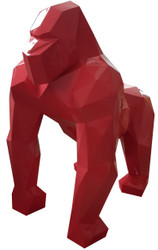 Casa Padrino designer decoration sculpture gorilla monkey red 118 x 78 x H. 128 cm - Decoration animal figure - Huge Garden Decoration Figure