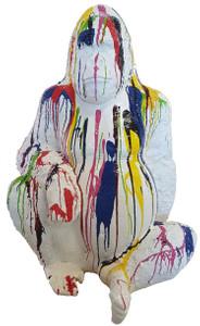 Casa Padrino designer decoration sculpture gorilla monkey white / multicolor H. 110 cm - Decorative Animal Figure - Weatherproof Garden Decoration Figure