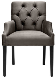 Casa Padrino luxury dining chair with armrests gray / black 63 x 65 x H. 90 cm - Chesterfield Kitchen Chair with Fine Velvet - Luxury Dining Room Furniture 2