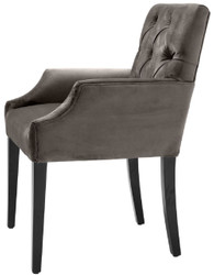 Casa Padrino luxury dining chair with armrests gray / black 63 x 65 x H. 90 cm - Chesterfield Kitchen Chair with Fine Velvet - Luxury Dining Room Furniture 4