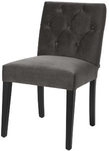 Casa Padrino luxury dining chair gray / black 51 x 64 x H. 90 cm - Chesterfield Kitchen Chair with Fine Velvet - Luxury Dining Room Furniture