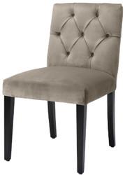 Casa Padrino Luxus Esszimmerstuhl Greige / Schwarz 51 x 64 x H. 90 cm - Chesterfield Küchenstuhl mit edlem Samtstoff - Luxus Esszimmer Möbel