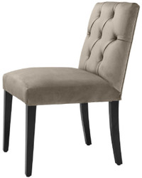 Casa Padrino luxury dining chair greige / black 51 x 64 x H. 90 cm - Chesterfield Kitchen Chair with Fine Velvet - Luxury Dining Room Furniture 4
