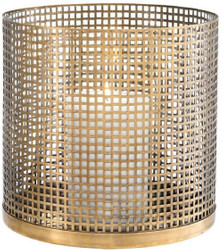 Casa Padrino luxury candle holder vintage brass Ø 25.5 x H. 25 cm - Round stainless steel and glass hurricane - Luxury decorative accessories