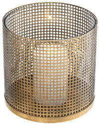 Casa Padrino luxury candle holder vintage brass Ø 25.5 x H. 25 cm - Round stainless steel and glass hurricane - Luxury decorative accessories  3