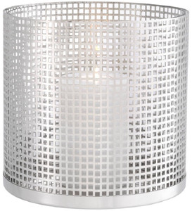 Casa Padrino luxury candle holder silver Ø 25.5 x H. 25 cm - Round stainless steel and glass hurricane - Luxury decorative accessories