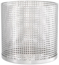 Casa Padrino luxury candle holder silver Ø 25.5 x H. 25 cm - Round stainless steel and glass hurricane - Luxury decorative accessories  2