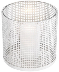 Casa Padrino luxury candle holder silver Ø 25.5 x H. 25 cm - Round stainless steel and glass hurricane - Luxury decorative accessories  3