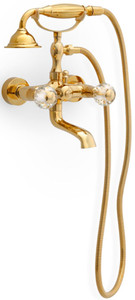 Casa Padrino luxury art nouveau bath tub mixer with hose and hand shower gold - Bathtub Tap with Crystal Glass - Nostalgic Bath Accessory
