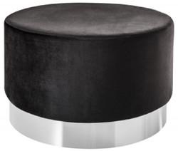 Casa Padrino designer stool black / silver Ø 55 x H. 35 cm - Modern round velvet stool - Living room furniture