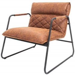 Casa Padrino retro lounge chair vintage light brown / black 71 x 72 x H. 79 cm - Faux leather armchair with metal frame - Living room furniture