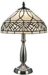 Casa Padrino Luxury Tiffany Table Lamp White / Black / Silver Ø 30 x H. 48 cm - Elegant Desk Lamp - Deco Accessories