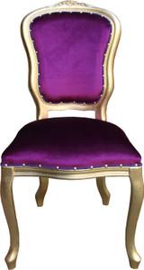 Casa Padrino Barock Luxus Esszimmer Stuhl Louis Lila / Gold - Barock Möbel – Bild 1
