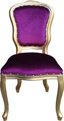 Casa Padrino Baroque luxury dining chair Louis Purple / Gold - Baroque furniture