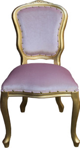 Casa Padrino Barock Luxus Esszimmer Stuhl Louis Rosa / Gold - Barock Möbel – Bild 1