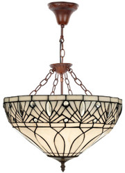 Casa Padrino Luxury Tiffany Pendant Lamp White / Black / Brown Ø 40 x H. 40 cm - Handmade from Numerous Glass Mosaic Pieces