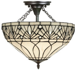 Casa Padrino luxury Tiffany ceiling light white / black Ø 40 x H. 50 cm - Handmade from Numerous Glass Mosaic Pieces