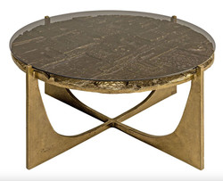 Casa Padrino luxury Art Deco coffee table bronze 74 x 38 cm - gold with glass top - Art Design table