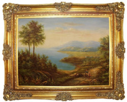 Casa Padrino baroque oil painting woman with child in nature multicolor / gold 160 x 10 x H. 130 cm - Hand painted painting with magnificent frame in baroque style - Baroque Wall Decoration