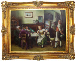 Casa Padrino baroque oil painting Society in the Inn multicolor / gold 160 x 10 x H. 130 cm - Hand painted painting with magnificent frame in baroque style - Baroque Wall Decoration