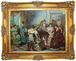 Casa Padrino baroque oil painting Ladies making Music multicolor / gold 160 x 10 x H. 130 cm - Hand painted painting with magnificent frame in baroque style - Baroque Decoration Accessories