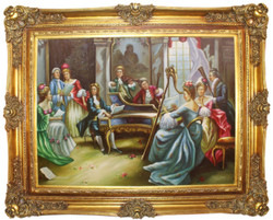 Casa Padrino baroque oil painting Classical Music multicolor / gold 160 x 10 x H. 130 cm - Hand painted painting with magnificent frame in baroque style - Baroque Furniture