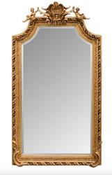 Casa Padrino Barock Spiegel Gold mit Engelsfiguren 100 x H. 175 cm - Antik Stil Möbel Wandspiegel