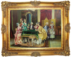 Casa Padrino baroque oil painting Family Meeting multicolor / gold 160 x 10 x H. 130 cm - Hand painted painting with magnificent frame in baroque style - Baroque Style Decoration