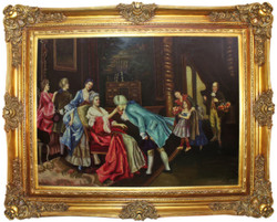 Casa Padrino baroque oil painting The Birthday multicolor / gold 160 x 10 x H. 130 cm - Hand painted painting with magnificent frame in baroque style - Wall Decor in Baroque Style