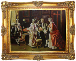 Casa Padrino baroque oil painting The Party multicolor / gold 160 x 10 x H. 130 cm - Hand painted painting with magnificent frame in baroque style - Baroque Decoration Accessories