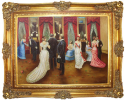 Casa Padrino baroque oil painting Wedding Party 2 multicolor / gold 160 x 10 x H. 130 cm - Hand painted painting with magnificent frame in baroque style - Baroque Wall Decoration