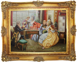 Casa Padrino baroque oil painting The Reading multicolor / gold 160 x 10 x H. 130 cm - Hand painted painting with magnificent frame in baroque style - Baroque Style Decoration