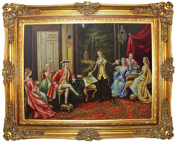 Casa Padrino baroque oil painting The Presentation multicolor / gold 160 x 10 x H. 130 cm - Hand painted painting with magnificent frame in baroque style - Baroque Style Decoration