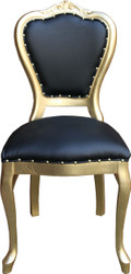 Casa Padrino baroque luxury dining chair black leatherette / gold - handmade furniture