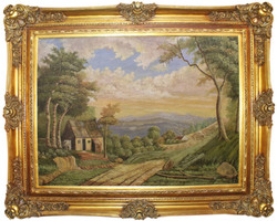Casa Padrino baroque oil painting Landscape multicolor / gold 160 x 10 x H. 130 cm - Hand painted painting with magnificent frame in baroque style - Wall Decor in Baroque Style