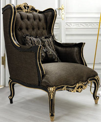 Casa Padrino luxury baroque living room armchair with pillow gray / black / gold 75 x 83 x H. 115 cm - Baroque Furniture - Noble & Ornate
