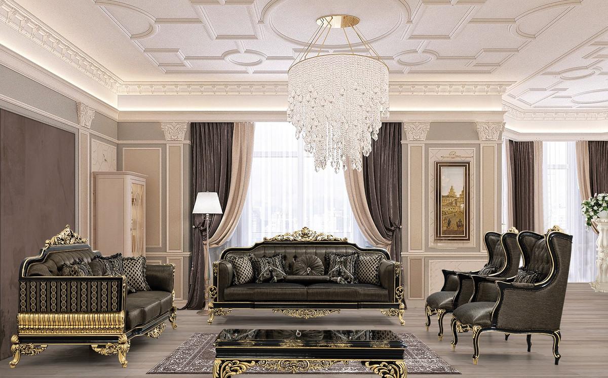Casa Padrino Luxus Barock Wohnzimmer Set Grau / Schwarz / Gold - 100 Sofas &  100 Sessel & 10 Couchtisch - Prunkvolle Barock Wohnzimmer Möbel