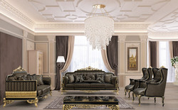 Casa Padrino luxury baroque living room set gray / black / gold - 2 Sofas & 2 Armchairs & 1 Coffee Table - Ornate Baroque Living Room Furniture