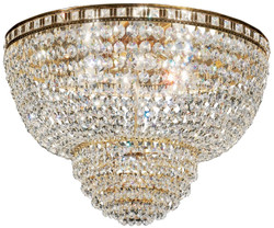 Casa Padrino baroque ceiling lamp brass / gold Ø 63 x H. 35 cm - Round crystal ceiling chandelier - Baroque Furniture
