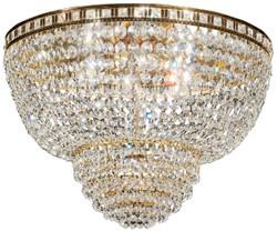 Casa Padrino Barock Deckenleuchte Messing / Gold Ø 63 x H. 35 cm - Runder Kristall Decken Kronleuchter - Barock Möbel