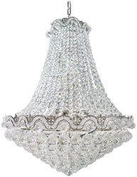 Casa Padrino baroque pendant light silver Ø 60 - Round crystal hanging lamp in baroque style - Noble & Splendid