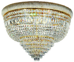 Casa Padrino baroque crystal ceiling lamp brass / gold Ø 66 x H. 45 cm - Ornate ceiling chandelier - Baroque Lights