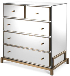 Casa Padrino luxury mirror glass dresser with 5 drawers brass 88.5 x 52 x H. 87.5 cm - Mirrored bedroom chest of drawers - Bedroom Furniture