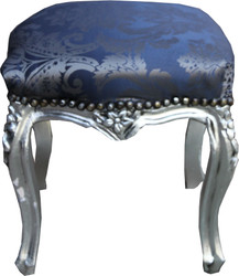 Casa Padrino baroque stool royal blue pattern / silver height - baroque furniture